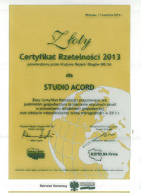 Certyfikat Rzetelności 2013