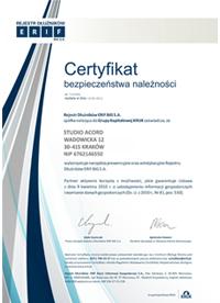 Certyfikat Bezpieczeństwa należności